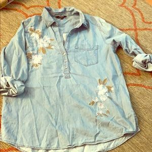 Express embroidered, denim shirt